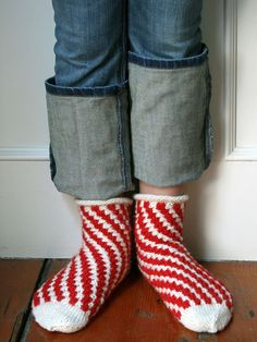 Whit's Knits: Candy Cane Bedroom Socks | The Purl Bee
