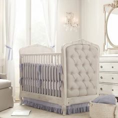 Baby Nursery Room Design Ideas - Upholstered crib white blue nursery