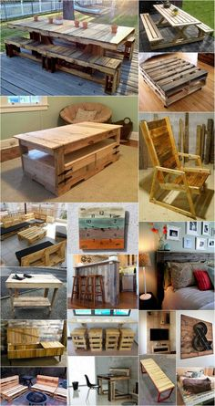 DIY Wooden Pallet Projects Ideas - outdoor patio furniture, bed frame design, creative bench, hanging desk with stools, coffee table, pallet wood clock, kitchen dining room table pallet chair etc