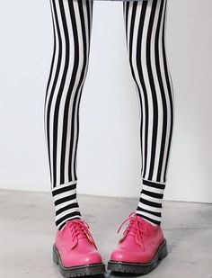 Striped Tights and Pink Docs, photo by tienda melody, via flickr #apparel #tights #stripes