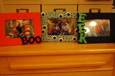 Wooden frames from the craft store, painted and embellished...I did three for about ten dollars!