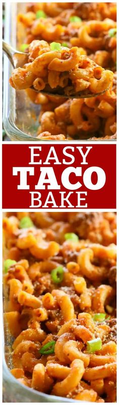 This Easy Taco Bake is a pasta dish that tastes just like a taco! It can easily be made ahead of time and freezes great.