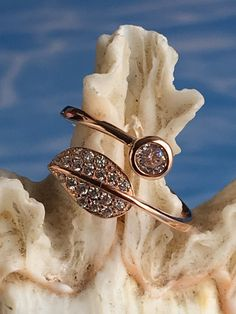 Open Ring, Silver 925 ,Rose Gold, Zircon Leaf, Adjustable For Woman,Zircon Jewelry by ShinnyStella on Etsy Open Ring, Silver Rings, Rose Gold, Engagement, Woman, Etsy, Beautiful, Jewelry, Jewlery