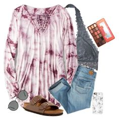 """""""love this shirt. have an awesome day"""" by alexislynea-804 ❤ liked on Polyvore featuring Victoria's Secret, American Eagle Outfitters, Too Faced Cosmetics, Casetify, Birkenstock and Ray-Ban"""