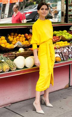 Le Fashion Blog How To Wear Yellow Crepe Open Back Dress Pointed Toe Heels Via Manrepeller