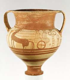 The chariot was an important motif in art from the Greek mainland; its frequency on Mycenaean pictorial vases has characterized an entire subgroup. These vases were probably connected with funerary practices, and in some regions they may have served as sarcophagi