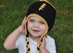 Iowa Hawkeye Football Crochet Hat with Earflaps by clarebearhats, $25.00