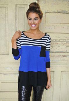 Dottie Couture Boutique - Color Block Tunic- Royal , $29.00 (http://www.dottiecouture.com/color-block-tunic-royal/)
