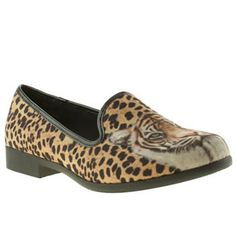 Womens Beige & Brown Youth Rise Up Cheetah Flats | schuh | £45