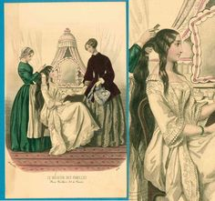 Rare undress corset petticoat 1850 lady servants dressing room Victorian fashion print