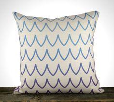 "SALE Chevron Pillow Cover, Blue and Amethyst Decorative Throw Pillow, Cushion, Zodiac, Ivory, Coastal, Nautical 16"". $25.00, via Etsy."
