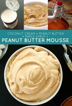coconut cream + peanut butter + maple syrup = peanut butter mousse