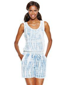 69f849c188c4 INC International Concepts Tie-Dye Shirtwaist Romper Rompers Women