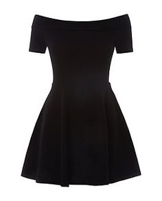 Teens Black Bardot Neck Skater Dress  | New Look