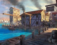 A city dock / market scene concept.For this project I focused on improving my composition and atmosphere. Coreldraw, New Work, Behance, Photoshop, Scene, Profile, Concept, Illustrations, Mansions