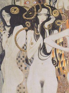 Gustav Klimt, The Gorgons, detail from the Beethoven Frieze, 1902