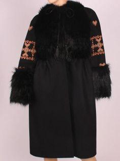 Black jacket with traditional patterns Folk Costume, Costumes, Fur Coat, Sequins, Feminine, Silk, Blouse, Cotton, Jackets