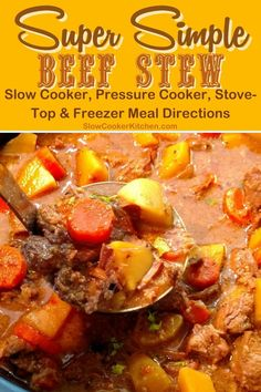 Cheap and easy, quick and tasty beef stew recipe for a slow cooker! With slow cooker, skillet-cooked, pressure cooker, Slow Cooker Beef, Slow Cooker Recipes, Beef Recipes, Soup Recipes, Tasty Beef Stew Recipe, Crock Pot Soup, Freezer Meals, Skillet, Crockpot