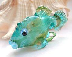 Aqua Fish Lampwork glass bead handmade glass pendant by glassbead, $25.00
