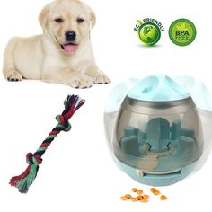 Leber Dog Toys Treat Ball and Dog Chew Rope Increases IQ Mental Stimulation Interactive Food Dispensing Ball >>> You can find out more details at the link of the image. (This is an affiliate link and I receive a commission for the sales) Pet Dogs, Dog Cat, Dog Feeder, Dog Chews, Dog Toys, Pet Supplies, Labrador Retriever, Treats, Balls