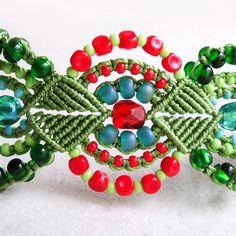 Micro macrame bracelet  Green Red by MartaJewelry on Etsy, $35.00