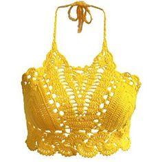 Women's Summer Crochet Bralette Bralet Bra Bustier Crop Tops Tank ($14) ❤ liked on Polyvore featuring tops, crop bustier, yellow tank, summer tanks, bustier tops and crochet top
