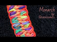 MONARCH Rainbow Loom bracelet tutorial - YouTube