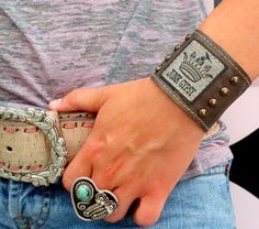 JUnk GypSY Crown emblem on a hand-distressed leather cuff with antiqued brass studs. . .   handmade in the UsA  Width: 2""
