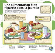 Une alimentation bien répartie dans la journée: petit déjeuner, déjeuner, goûter et dîner. http://agriculture.gouv.fr/bien-manger