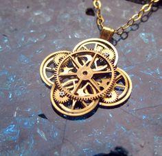 Watch Gear Flower Necklace Aster Elegant by amechanicalmind