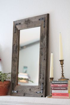 Small Mirror Small Wood Framed Mirror Wall Mirror Reclaimed Wood Framed Mirror Bathroom Mirror Rustic Wood Mirror Rustic Home Decor Wood Mirror Bathroom, Rustic Wall Mirrors, Rustic Wood Walls, Wood Framed Mirror, Small Mirrors, Round Wall Mirror, Mirror Glass, Glass Art, Mirror Set