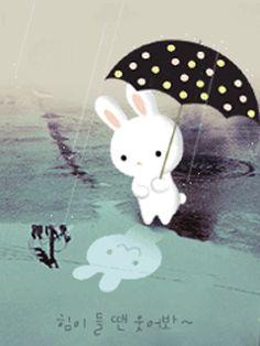 tiny bunny in the rain ^_^