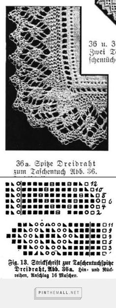 """""""Taschentuchspitze Dreidraht"""" (""""Dreidraht"""" knitted lace edging for handkerchief) from an antique lace knitting book by Marie Niedner. Knitting Books, Lace Knitting, Knitting Stitches, Knit Crochet, Knitting Patterns, Knit Edge, Lace Border, Edge Stitch, Antique Lace"""