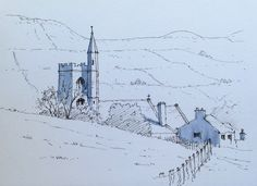 St Margaret of Antioch's Church, Hawes, Wensleydale in Yorkshire ~ sketch