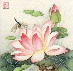 """Summer Guest"" - Original Fine Art for Sale - © Jinghua Gao Dalia Korean Painting, Japanese Painting, Chinese Painting, Chinese Art, Japanese Art, Japanese Lotus, Lotus Flower Art, Lotus Art, Illustration Blume"