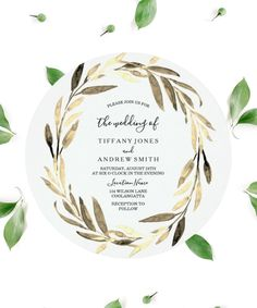 This boho round wedding invitation features an elegant unique golden leaf wreath in gold, and dark green color tons. The Olive wreath and golden leaves arranged in the shape of a circle and in the middle are the headline script in handwritten typography. This wedding invitation is a perfect idea for a gold wedding color scheme and theme with modern style. Creative Wedding Invitations, Black Wedding Invitations, Letterpress Wedding Invitations, Printable Wedding Invitations, Elegant Wedding Invitations, Gold Wedding Colors, Wedding Color Schemes, Olive Wreath, Handwritten Typography