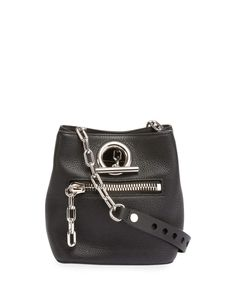 Riot Leather Bucket Bag, Black