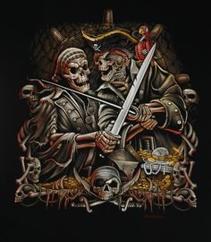 Skull Pirates discovered by Meek on We Heart It Pirate Art, Pirate Life, Pirate Ships, Pirate Skull Tattoos, Pirates Cove, Skull Pictures, Black Sails, Jolly Roger, Airbrush Art