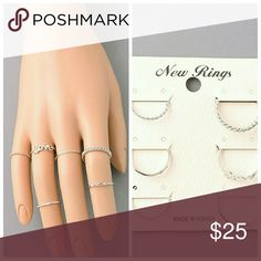 Love Midi Ring Set Silver  Sizes 4, 5, and 6 Jewelry Rings