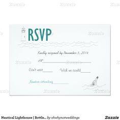 "Nautical Lighthouse   Bottle   Waves   RSVP card 3.5"" X 5"" Invitation Card"
