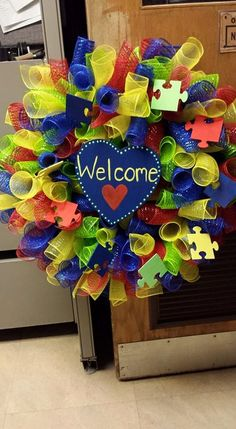Mesh Autism Wreath by kglg on Etsy