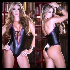 ️Sexy Bodysuit  head turning wild trimmed wetlook romper. Featuring a halter tyle silouette with plunge front bow tie bustline and figure hugging bodice with flattering rio style cheeky cut backside. Available in black or gunmetal, sizes S,M,L. Tops