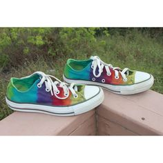 Tie Dye Double Tongue Converse Shoes Upcycled ($22) ❤ liked on Polyvore featuring shoes, grey, women's shoes, rainbow shoes, tie-dye shoes, grey shoes, gray shoes and rainbow footwear