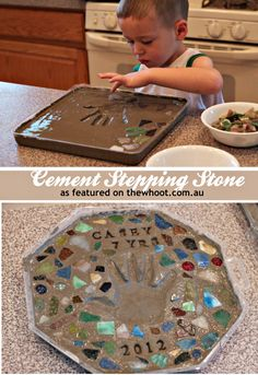 cement stepping stone. It would be so fun to do one every spring as our children grow to make a path in the garden representing the path of the life.