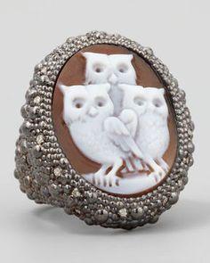 ShopStyle.com: AMEDEO Diamond-Trim Hand-Carved Owl Cameo Ring $2,700.00