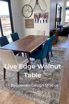 When paired with steel legs, a live edge walnut dining table fits well into modern industrial style dining room spaces. Love how our customer styled it! Midcentury Modern Dining Table, Dining Table Legs, Wooden Dining Tables, Solid Wood Dining Table, Corner Dining Set, Home Living Room, Condo Living, Dining Room Inspiration, Minimalist Home Decor