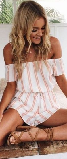 striped rompers perfect summer outfit 2017 perfect summer outfitYou can find Rompers and more on our website Outfit 2017, Summer Outfits 2017, Cute Summer Outfits, Spring Outfits, Outfit Summer, Casual Summer, Cute Summer Rompers, Easy Outfits, Dress Summer