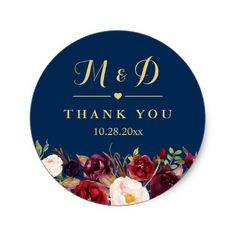 Shop Burgundy Floral Navy Blue Monogram Wedding Favor Classic Round Sticker created by CardHunter. Personalize it with photos & text or purchase as is! Wedding Favours Thank You, Wedding Favor Labels, Floral Wedding Invitations, Wedding Stationery, Maroon Wedding, Burgundy Wedding, Yellow Wedding, Bridal Shower Flowers, Bridal Shower Favors