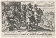 Crispijn van de Passe (I) | Agamemnon adviseert de Grieken, Crispijn van de Passe (I), 1613 | Agamemnon adviseert de Grieken om het gevecht op te geven. Nestor spreekt hem echter tegen. In de marge een vierregelig onderschrift, in twee kolommen, in het Latijn.