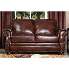 Abbyson Living Karington Hand Rubbed Leather Loveseat * Click image to review more details-affiliate link. #LvingRoom Sofas